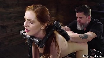 Slave in doggy device bondage anal toyed