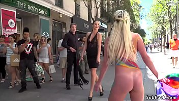 Voyeur submits Naked body painted blonde in public