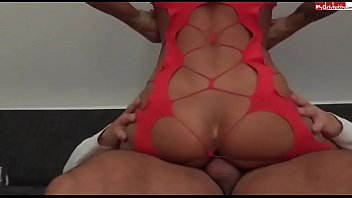 Name? Busty German smokeshow in red cut out fishnet lingerie gets a deep creampie. big-tits latex-high-heel-boots