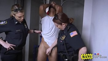 Two big titty MILFs had hardcore sex with a black criminal after arrested him.