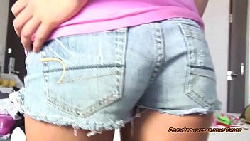 Sexy young babe gives lap dance in booty shorts