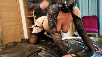 Slut Mother and Son in Daddy's bedroom while Sister film by cellphone (Quarantine sex)