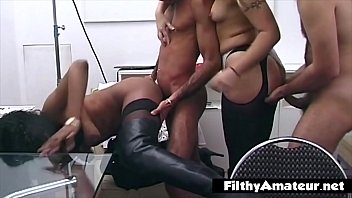 Double couple in the ass in vintage amateur orgy