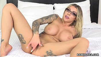 Sexy blondes in red lingerie Horny karma rx toys her ass with a dildo solo