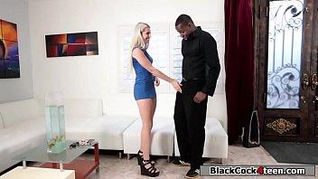Pissed blonde rides black guys dick