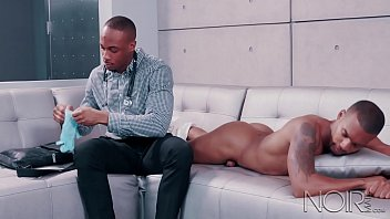 Gay male tattoos Noirmale muscle hunk big black dick doctor makes a house call