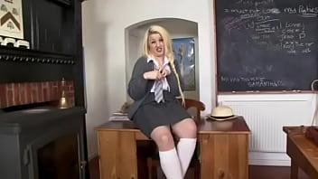 Slutty Chubby Blonde in School uniform, White Knee Socks & shear Nix