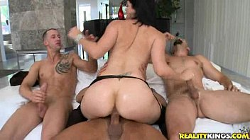 Bobbi has three guys ready to pound her pussy