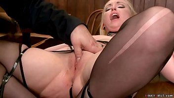 Blonde slave is toyed in bar