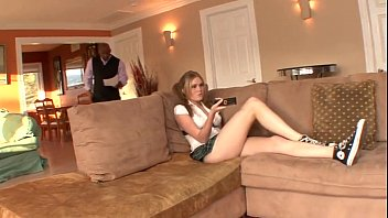Black stepdad bribed by cute blonde daughter