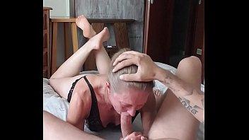 Milf deepthroat and swallow showing feet