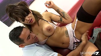Inked and big titted babe facialed