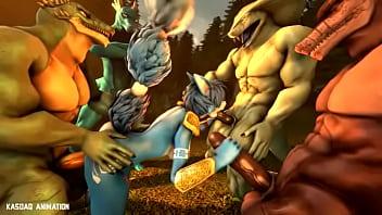 Krystal gangbang by lizard boys