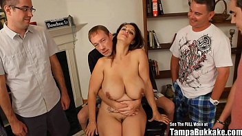 Tampa milf Raquel raxxx giant titty blowbang bukkake