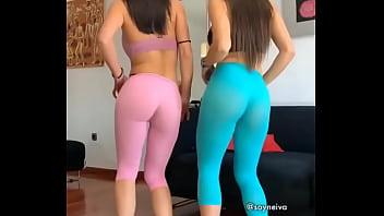 2 girls mooning perfect ass/butt in yoga pants
