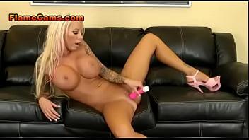 Tattooed Blonde Orgasms During Cam Show