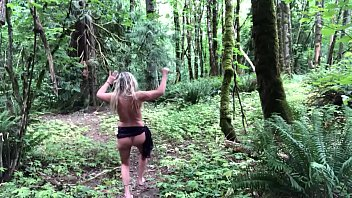 Moms naked in the woods Fun time in the woods