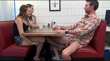 Penetration table 50bmg Daughter gives footjob and bj to dad under the table