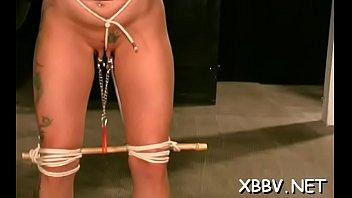 Breast bondage for needy chick