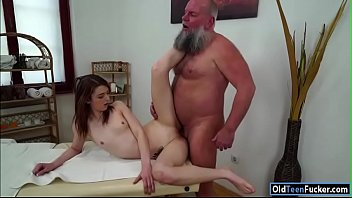 Czech Tera Link fingered by old masseur and sucking his cock