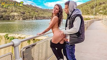 MAMACITAZ - Wild Russian Babe Verona Sky Bangs By The River With Spanish Stud