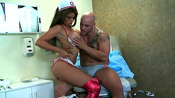 Pornstars nurses to rescue - Big boobed brunette fucking in shiny red boots