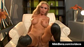 Naughty Canadian Nikki Benz Gets Big Splooge On Big Boobs!