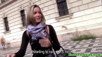 Euro girlnextdoor devours cock outdoors