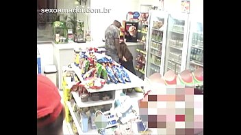 Surveillance equipment films drunk woman sucking cock of man in convenience store