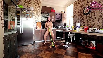 Sexy Wife Fun Dancing Naked While Cleaning the House