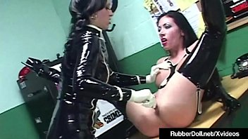 Latex Lesbian RubberDoll Face Fucks Nadia Nitro!
