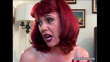 Horny redhead MILF takes ride on rigid
