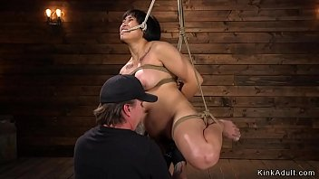 Hairy Asian bbw toyed in hogtie