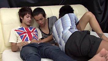 Gay asian foot fetish - Three asian twinks fuck raw