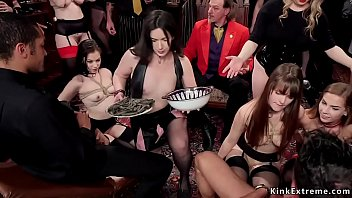 Beautiful slaves pleasing cocks at party