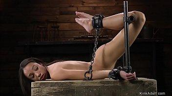 Ebony slut in back arch bondage