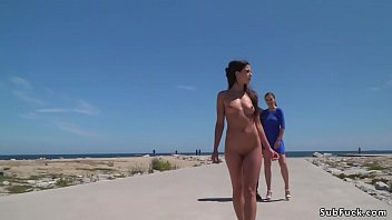 Nude Spanish beauty walked on the beach