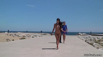 Nude Spanish beauty walked on the beach