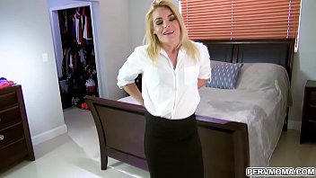 Blaten Lee was getting dressed for work when her stepson came to ask some cash but this horny MILF gave him a sloppy blowjob plus a bonus extra money.