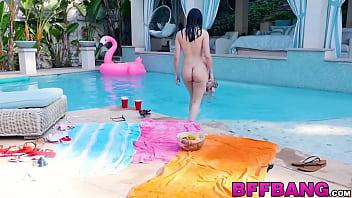 Lesbian pool threesome with horny petite teen sluts