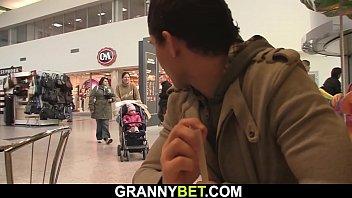 Guy picks up small tits skinny blonde granny