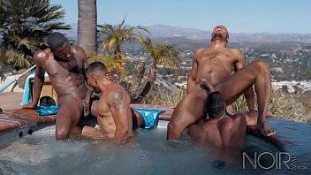 Gay adult blog index Noir male pool boy initiated into all hunk orgy in hot tub
