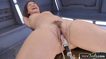 Pneumatic fuck machines Bound glam beauty drilled by sex machine