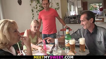 Blonde mother-in-law and dad fuck son's girlfriend