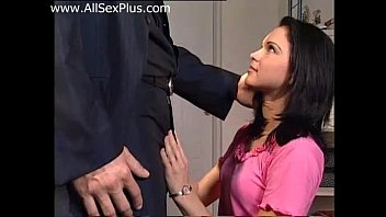 Teen with beautiful eyes fucks with her boss