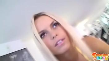 Cum-starved blonde slut Sabrina gets semen right in her eye