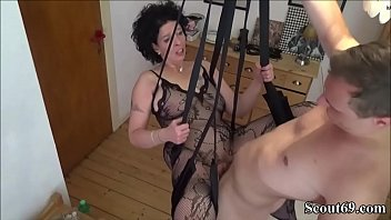 On her young sons swinging Junger stief-sohn fickt seine mutter in einer liebesschaukel - german step-son fuck mother with stockings in love swing
