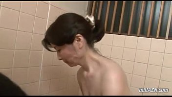 Sex toy bathroom - Mature woman washing young guy body sucking his cock in the bathroom