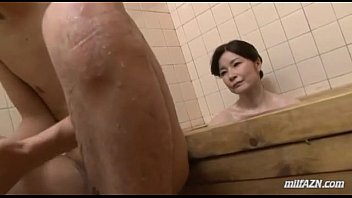 Mature Woman Washing Young Guy Body Sucking His Cock In The Bathroom