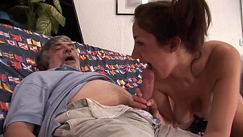 Dirty father gropes her daughter and convinces her to suck his cock